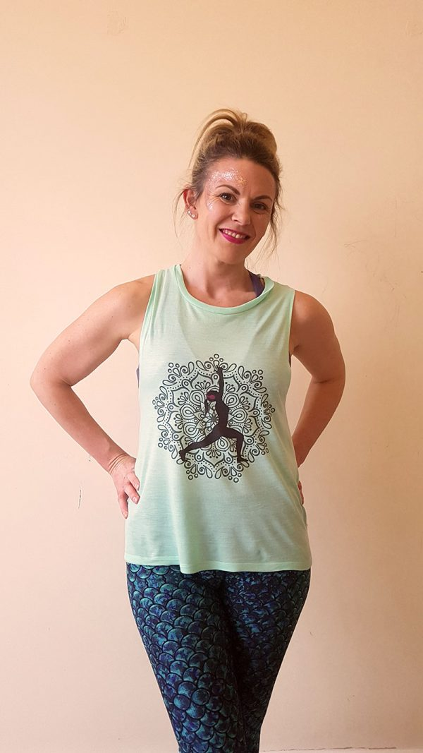 Silent Disco Yoga Vest Tank Top Green