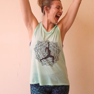 Silent Disco Yoga Vest Tank Top Green