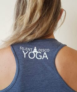silent disco yoga vest top and the beat goes om grey
